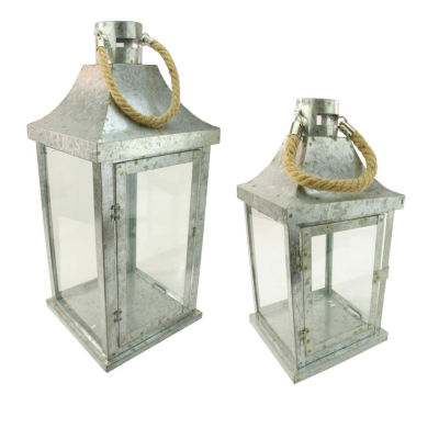 """Set of 2 Industrial Flecked Metal and Glass Paneled Nesting Pillar Candle Lanterns 14""""-22"""""""
