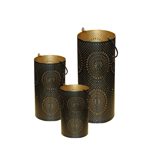 Set of 3 Black and Gold Decorative Floral Cut-Out Pillar Candle Lanterns 12.5""