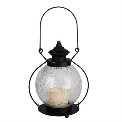 """11"""" Clear Molded Glass Lantern with Flameless LED Pillar Timer Candle"""""""