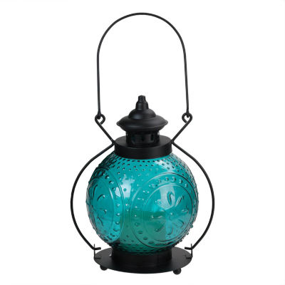 """11"""" Ocean Blue Molded Glass Lantern with Flameless LED Pillar Timer Candle"""""""