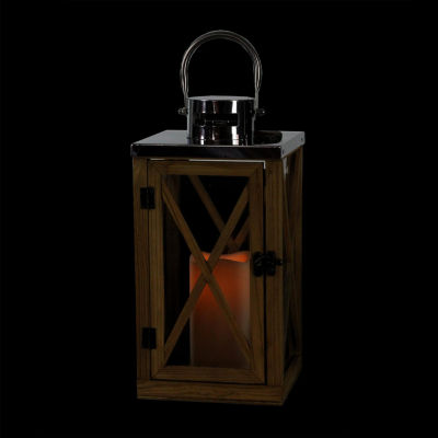"13.5"" Rustic Wood and Stainless Steel Lantern with LED Flameless Pillar Candle with Timer"""