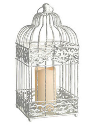 "15"" White Distressed Metal Birdcage Lantern with Indoor/Outdoor LED Flameless Pillar Candle"""