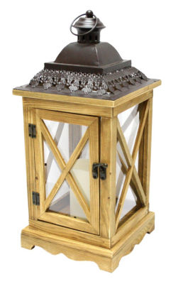 "17.5"" Rustic Wooden Lantern with Brown Metal Top and LED Flameless Pillar Candle with Timer"""