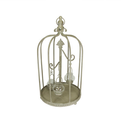 "26"" Vintage Rose Antique-Style Distressed Gray-Washed Taupe Metal Birdcage Tea Light Candle Holder"""