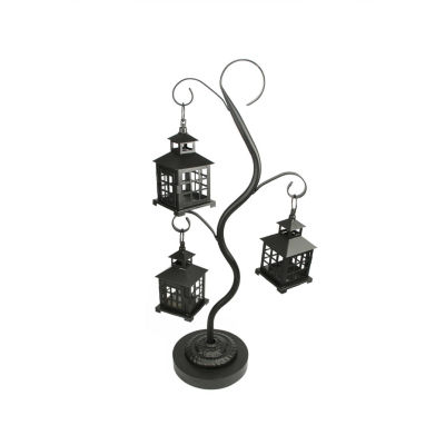 "27.25"" Black Mission Style Tea Light Candle Holder Tree with 3 Lanterns"""