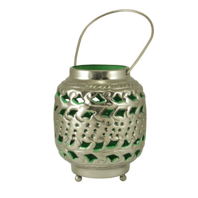 """4"""" Tropicalia Silver and Green Cut-Out Floral Tea Light Candle Holder"""""""