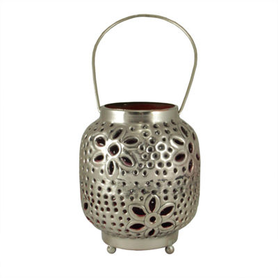 "4"" Tropicalia Silver and Red Cut-Out Floral Tea Light Candle Holder"""