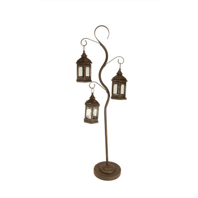 "50.5"" Rustic Brown Pillar Candle Holder Tree with 3 Decorative Lanterns"""