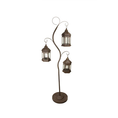 "60"" Rustic Brown Pillar Candle Holder Tree with 3Decorative Lanterns"""