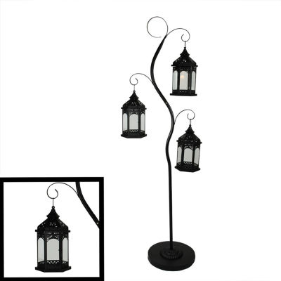 "70"" Rustic Black Pillar Candle Holder Tree with 3 Decorative Lanterns"""