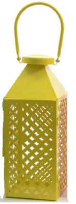 "Fancy Fair Lemon Yellow Diamond Patterned Pillar Candle Lantern 13.5"""