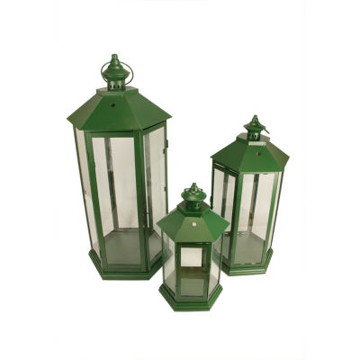 Set of 3 Green Traditional Style Pillar Candle Holder Lanterns 27""