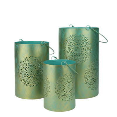 Set of 3 Turquoise Blue and Gold Decorative FloralCut-Out Pillar Candle Lanterns 10""