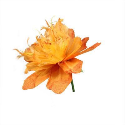 "26"" Orange and Green Decorative Spring Floral Artificial Craft Stem"""