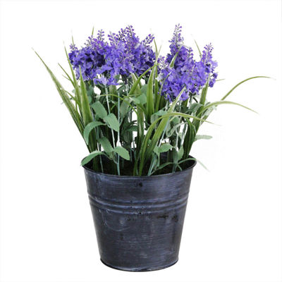 "12"" Artificial Lavender Arrangement in Decorative Distressed Blue Pot"""