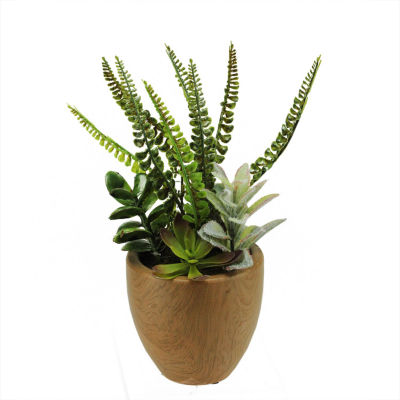 "12"" Artificial Mixed Succulents and Fern Plants ina Decorative Faux Wood Pot"""