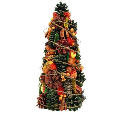 "14.75"" Autumn Harvest Pine Cones and Apples Decorative Cone Tree"""