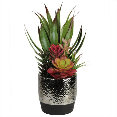 """15"""" Artificial Succulents and Agave in Decorative Silver Ceramic Pot"""""""
