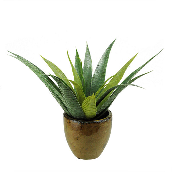 "16"" Artificial Green Agave Succulent Plant in a Decorative Brown Pot"""