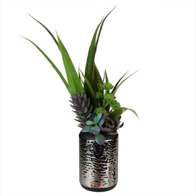 """19"""" Artificial Mixed Succulent and Agave Arrangement in Silver Ceramic Pot"""""""