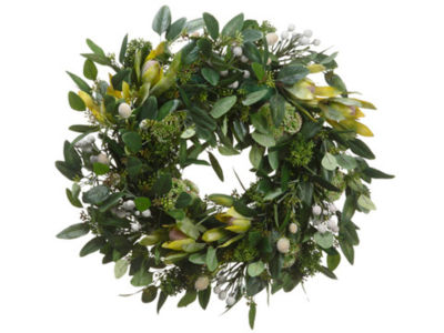 "19"" Protea and Sedum with Green Foliage Artificial Floral Wreath - Unlit"""