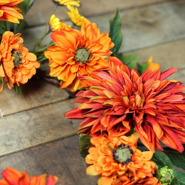"22"" Autumn Harvest Orange Mums and Yellow Daisies Floral Wreath - Unlit"""