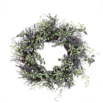 "22"" Decorative Plum Purple and White Artificial Berry Wreath"""
