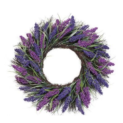 "22"" Plum and Purple Artificial Heather Spring Floral Wreath - Unlit"""