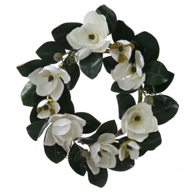 """26"""" White Magnolia Flower and Leaves Artificial Silk Floral Wreath - Unlit"""""""