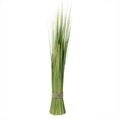 """37.75"""" Green and Yellow Artificial Onion Grass Bundle Wrapped with Decorative Tan Rope"""""""