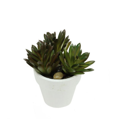 """4"""" Decorative Artificial Green and Red Spring Succulent in a Round White Pot with Stones"""""""