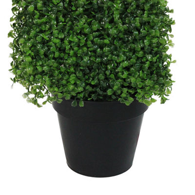 "45"" Potted Artificial Two Tone Green Triangular Boxwood Topiary Garden Decoration"""