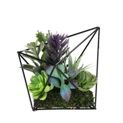 "6.75"" Artificial Succulents Arrangement in Decorative Diamond Metal Wire Frame"""