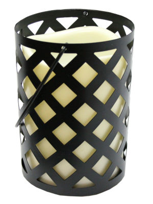 "7"" Black Metal Criss Cross Lantern with Bisque LED Lighted Flameless Indoor/Outdoor Pillar Candle"""
