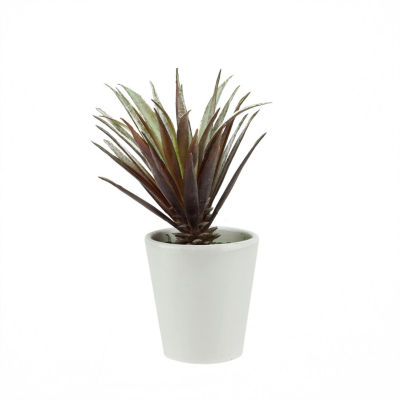 """7.25"""" Artificial Red and Green Aloe Succulent Plant in a Decorative Round White Pot"""""""