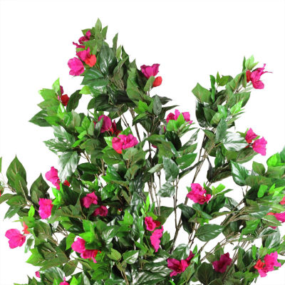 "74.75"" Decorative Potted Artificial Green  Pink and Red Bougainvillea Tree"""