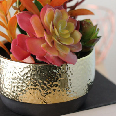 "8.5"" Artificial Succulent Arrangement in Gold Ceramic Pot"""