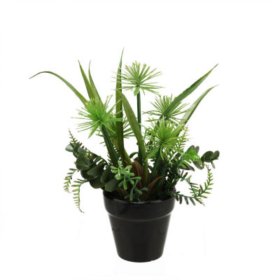 """9"""" Artificial Mixed Green and Brown Succulent Plants in a Decorative Round Black Pot"""""""
