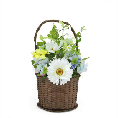 "14.5"" Lakeside Blue & White Silk Mixed Flower Artificial Spring Floral Arrangement in Basket"""