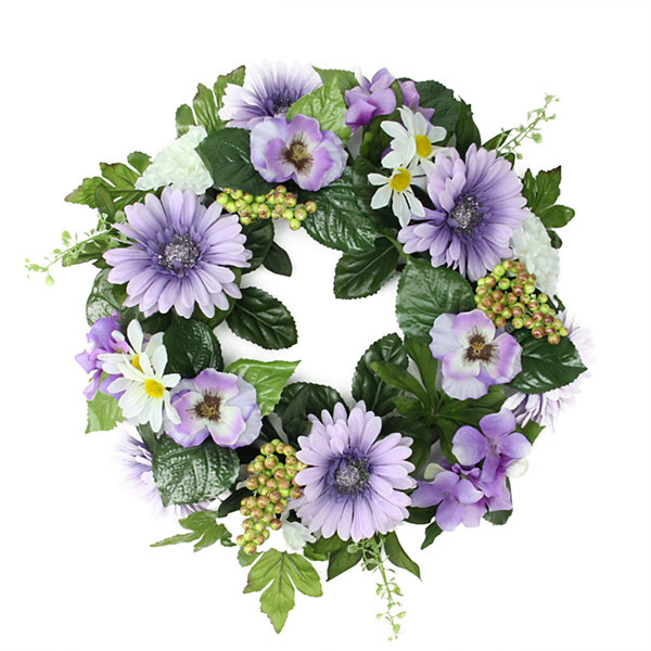 "18"" Decorative Purple and Green Gerbera Daisy and Pansy Flowers Artificial Spring Floral Wreath"""