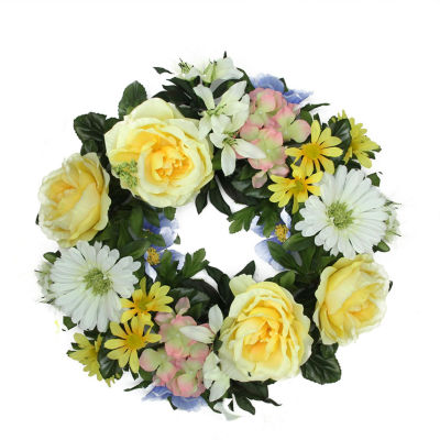 "18"" Decorative Yellow and Green Cabbage Rose and Daisy Flowers Artificial Spring Floral Wreath"""