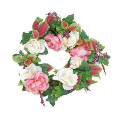 "22.5"" Decorative Cream and Pink Rose Flowers and Berries Artificial Spring Floral Wreath"""