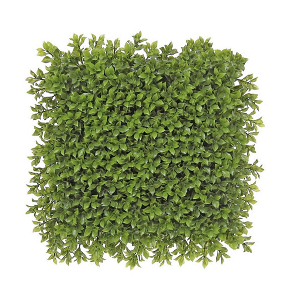 "12"" Decorative Square Two Tone Moss Green Artificial Boxwood Mat"""