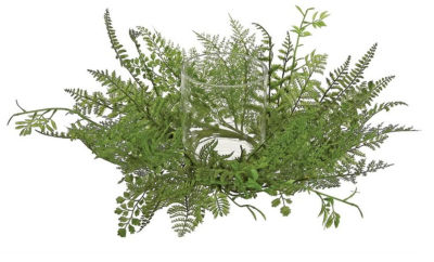 "17"" Decorative Artificial Mixed Green Fern Hurricane Glass Candle Holder"""