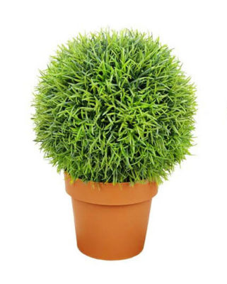 """18"""" Potted Two-Tone Artificial Pine Ball Topiary Plant"""""""