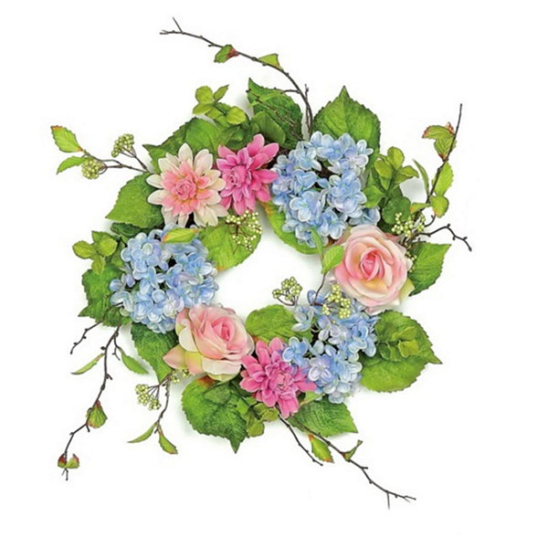 "20"" Decorative Blue and Pink Rose and Hydrangea Artificial Floral Wreath - Unlit"""
