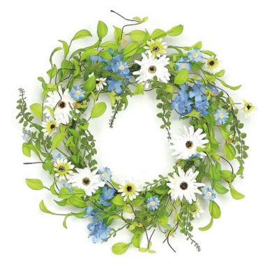 """22"""" Decorative Blue and White Hydrangea and Wild Daisy Artificial Floral Wreath - Unlit"""""""