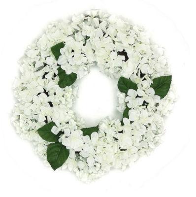 "22"" Decorative Cream and Green Artificial Floral Hydrangea Wreath - Unlit"""