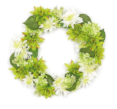 "22"" Decorative Cream White and Green Artificial Floral Dahlia and Hydrangea Wreath - Unlit"""