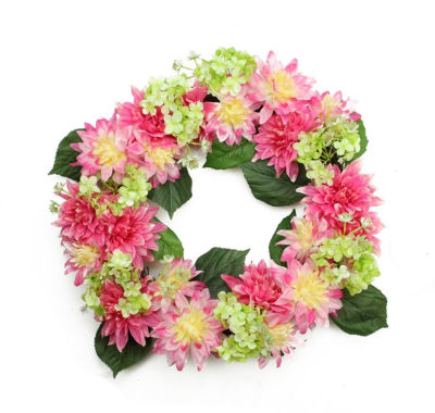"""22"""" Decorative Pink and Green Artificial Floral Dahlia and Hydrangea Wreath - Unlit"""""""
